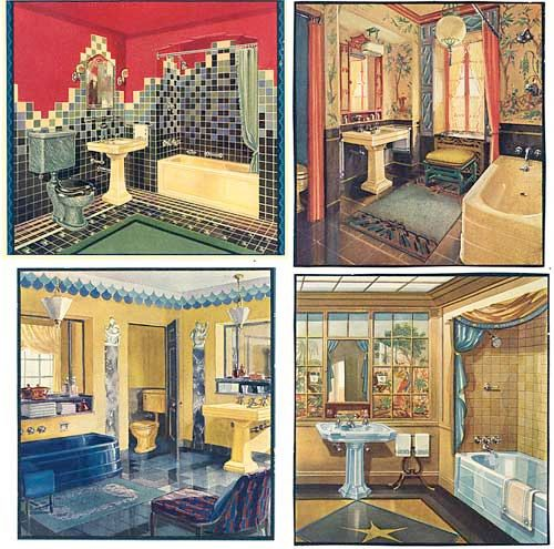 Set Of 4 Vintage 1920s Art Deco Bathrooms Illustrations Prints For Framing Fixtures Tiles Colorful