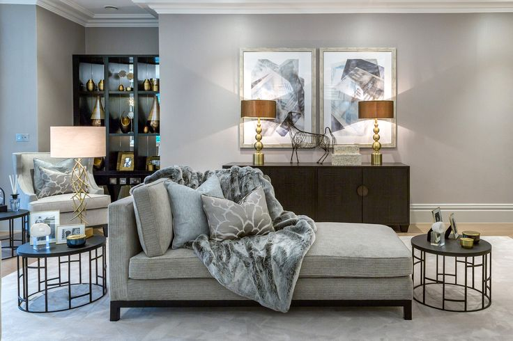 Surrounded by 45 acres of secluded private woods and parkland, we designed these magnificent Millgate homes to impress - with deluxe faux fur throws in silk santeen, elegant chaise longue in rich Osborne and Little fabric and statement piece @portaromanauk side tables and lamp.