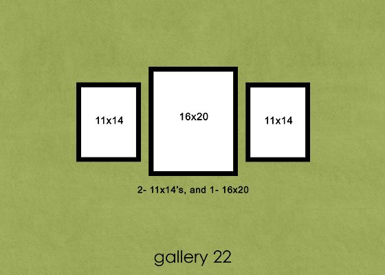 This site is awesome - gives you an example of every kind/size of frame and layout for hanging pictures!