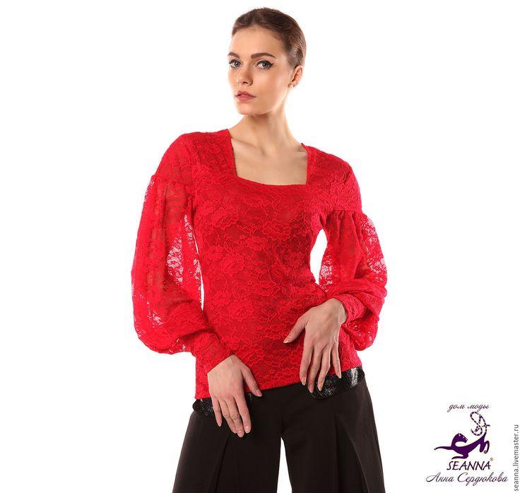 """Купить Блузка кружевная стрейч """"Роскошный красный"""" в разных цветах - ярко-красный, блузка"""
