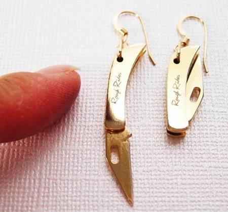 """Knife Earrings.....brings girls """"taking their earring off"""" to a whole other level!"""