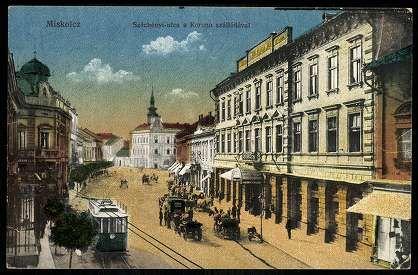Miskolc Széchényi utca a Korona szállodával | Képeslapok | Hungaricana