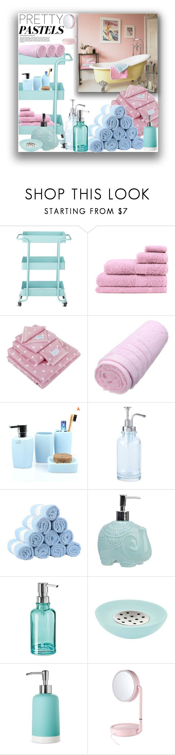 """""""Pasteldecor"""" by marionmeyer ❤ liked on Polyvore featuring interior, interiors, interior design, home, home decor, interior decorating, Home Decorators Collection, Cath Kidston, Oggi and Aquanova"""