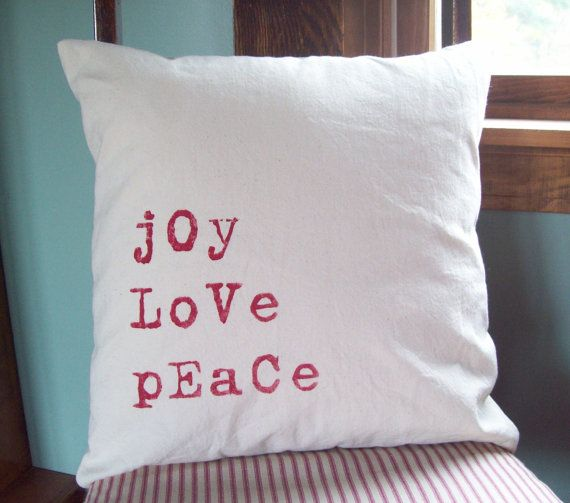 Christmas Pillow Cover...Joy, Love, Peace 16 x 16 by North Country Comforts - Christmas Decorations - Decorative Pillow Cover