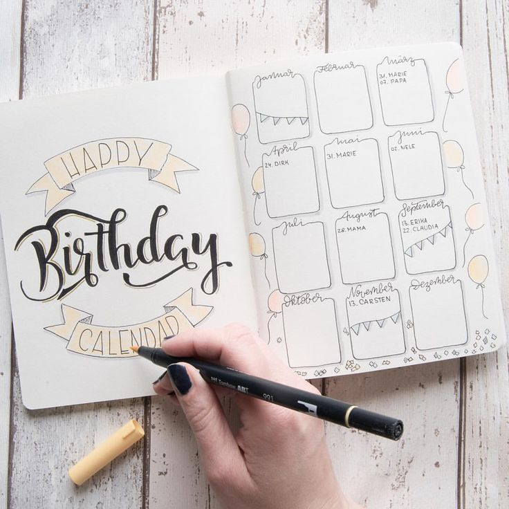 """Like 627 reads, 9 comments – Jane Carrot (@jane_carrot) on Instagram: """"This is what my birthday calendar looks like in my bullet journal"""