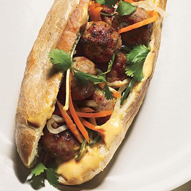 Pork Meatball Banh Mi  Even though we haven't had meat in our house for 6 months my husband DEMANDS I make this again.  Delicious.