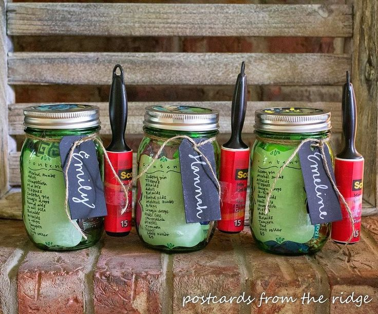 College Survival Kit in a Mason Jar or other types of transition gifts
