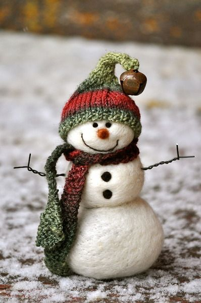 Needle felted snowman by Teresa Perleberg