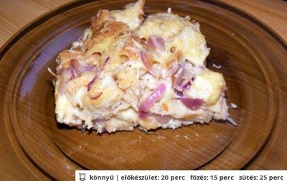 Füstölt sajtos-lilahagymás kenyérpuding recept a(z) SZABÓ család receptes könyvéből - csaladireceptkonyv.hu