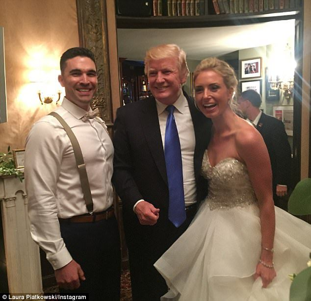 The wedding crasher in chief Donald Trump swings by a reception held at his New Jersey golf course