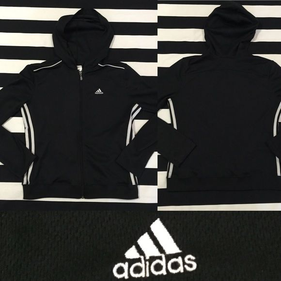 Adidas women's zip up hoodie sz S ⚽️⚽️⚽️ Adidas women's zip up hoodie sz S ⚽️⚽️⚽️ good used condition, color is black with light grey detail stripes and Adidas insignia, material polyester and has mesh like feel⚽️ See other Adidas and athletic listings in my closet (men's listings at bottom of my closest)⚽️ Adidas Tops