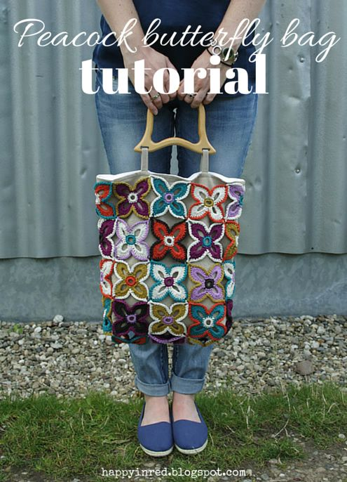Crochet and sewing tutorial, peacock butterfly bag | Happy in Red | Bloglovin'