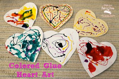 easy & fun - Colored Glue Heart Art