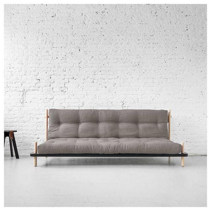 Platsbesparande design bäddsoffa med stomme i furu. Soffa används som permanent säng. Fin futonsoffa Point blir en bekväm säng från en soffa på några sekunder.