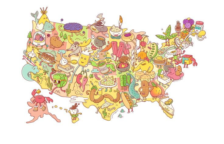 Eat your way across America with this ultimate map of foodie celebrations. Illustrations by Brosmind