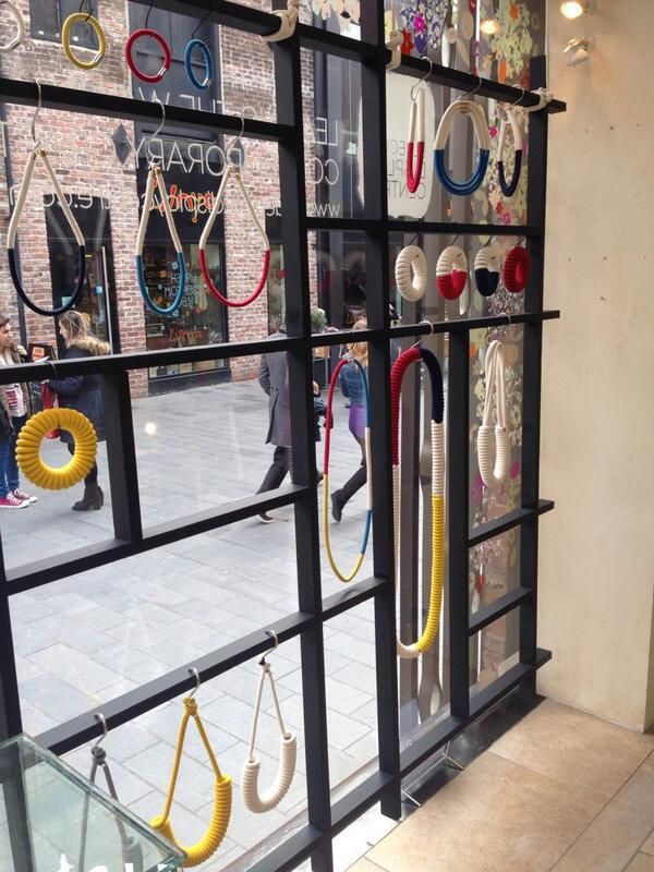 Eleanor Bolton has been installing her exhibition 'In The Window' exhibition area, we love the Mondrian inspired jewellery!