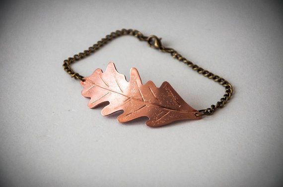 Bracelet with oak leaf made of copper and by SilviaWithLove