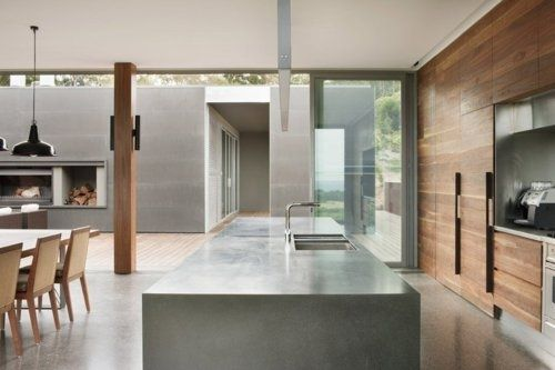 Love concrete floors, floor to ceiling cupboards but would choose white, like timber posts and again inside outside transition