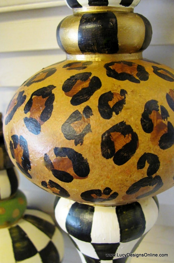 Painted Leopard Print Painted Christmas Ornamentschristmas