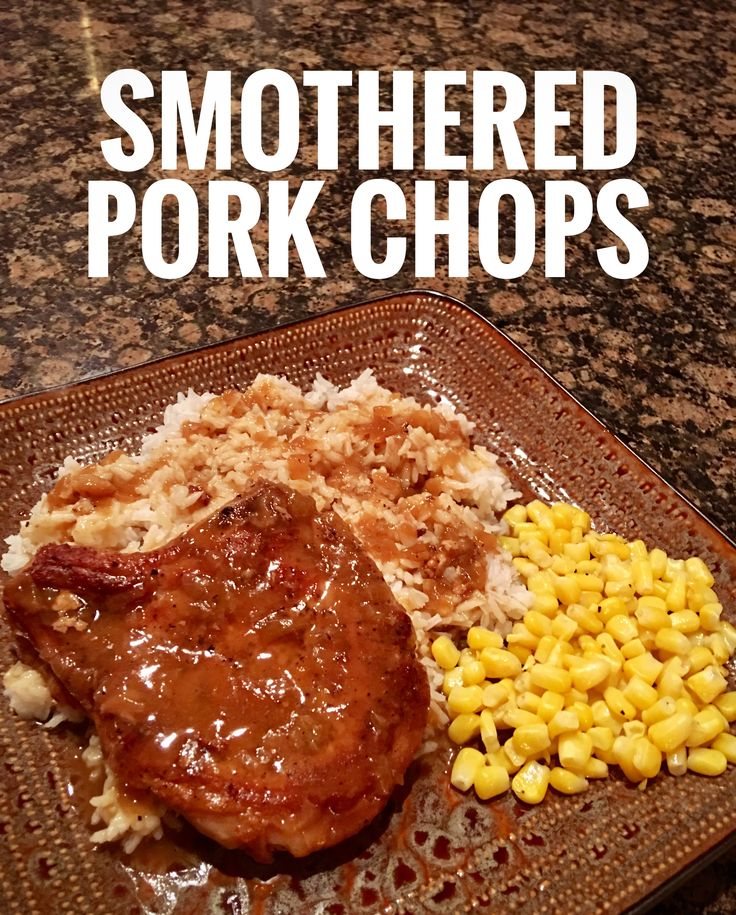 SMOTHERED PORK CHOPS 6-8 Bone-in Center Cut Pork Chops Kosher or Sea Salt for flavor Fresh Black Pepper for flavor Small amount of Vegetable Oil 1 Onion 1 (32 oz) Container of Chicken Stock 1 Teaspoon of Cajun or Creole Seasoning 1/2 Stick of Unsalted Butter 2-3 Tablespoons of Cornstarch 1/2 Cup of Cold Water Rice or Mashed Potatoes to serve with