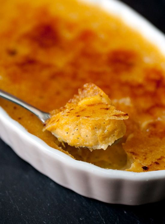 This creamy Pumpkin and Vanilla Bean Creme Brulee would be a perfect addition to your Thanksgiving menu.