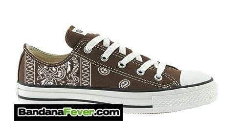 Customized Converse Sneakers, Unisex, Brown, White Bandana Print, Size 5