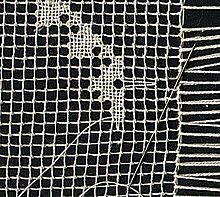 Filet lace - Filet lace (linen stitch) being worked. - Filet-work is the result of knotting a fabric of diagonal or square meshes to create an open fabric called Lace. The tool to make a Knotted Net Lace is a Shuttle-Needle and a Gauge stick for measure of the meshes.