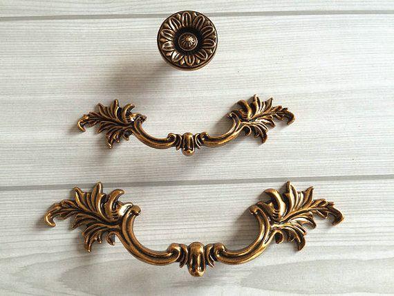 "2.8"" 3.75"" Dresser Knobs Pulls Drawer Pull Handles Gold Brass Kitchen Cabinet Door Knob Handle Pull French Provincial Vintage Hardware 72 96"