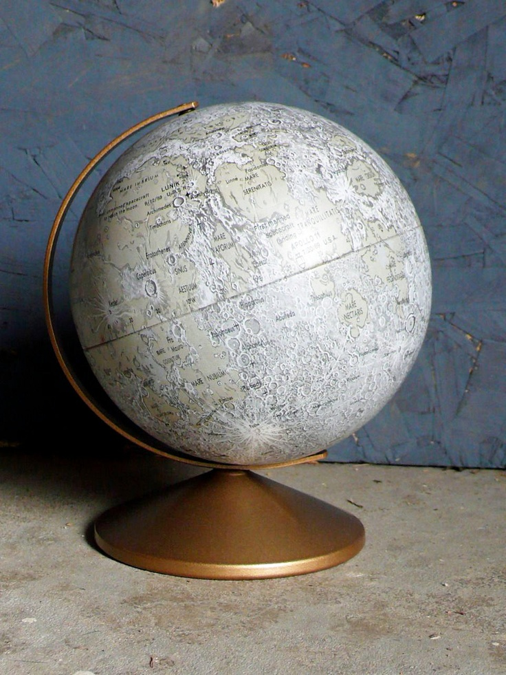 Moon Globe! What awesomeness is this?! (If I could get it, I would want one of the lunar globes issued in 1969, to commemorate the moon landing...)  http://www.etsy.com/listing/95792901/vintage-6-inch-moon-lunar-globe