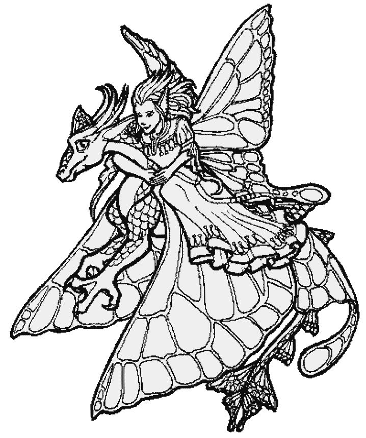 evil fairy coloring pages for adults dragon coloring page - Coloring Pages Dragons Fairies
