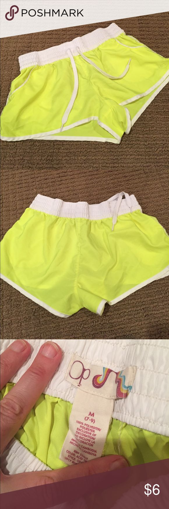 Neon yellow running shorts! Light weight, great for running or as beach shorts!!!! Neon yellow looks great with a tan! Op Shorts