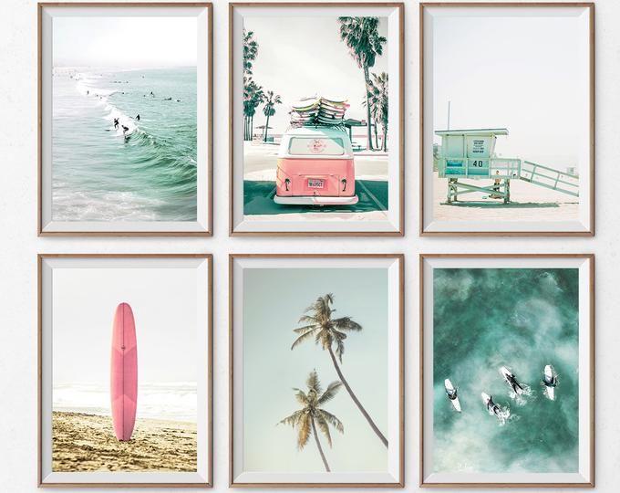Surf Poster Set Beach Wall Art Set Of 3 Prints Pink Surfboard