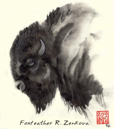 Plains Ghost Bison Painting Print - Sumi Ink totem buffalo wall art picture native american gift wall art