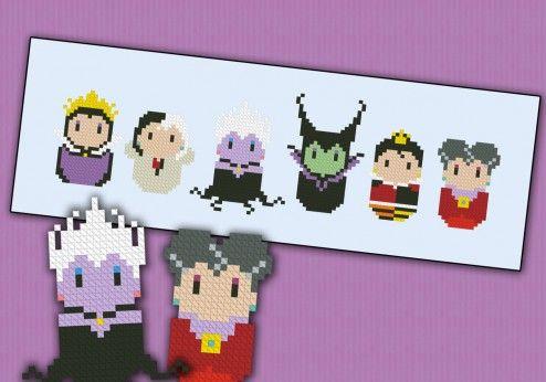 Disney evil villains cross stitch pattern
