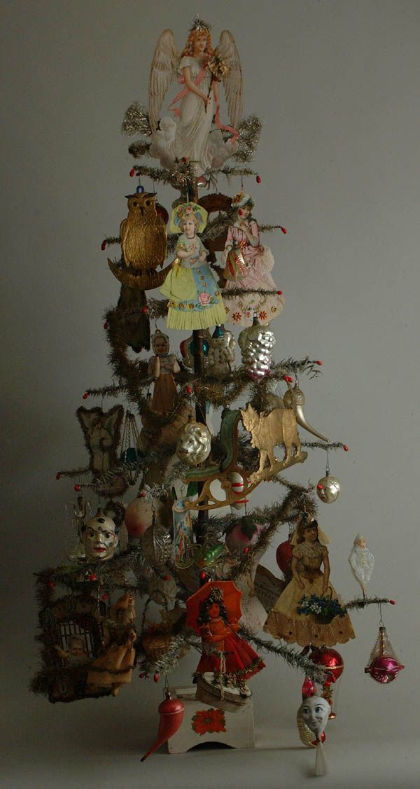 Antique feather tree with beautiful ornaments