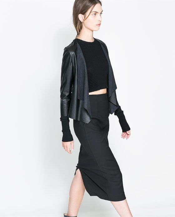 Image 4 of FAUX LEATHER AND GUIPURE LACE JACKET from Zara