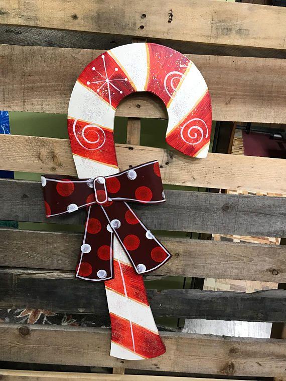 CLEARANCE SALE, Christmas Wall Art, Christmas Wreath,Candy Cane Door