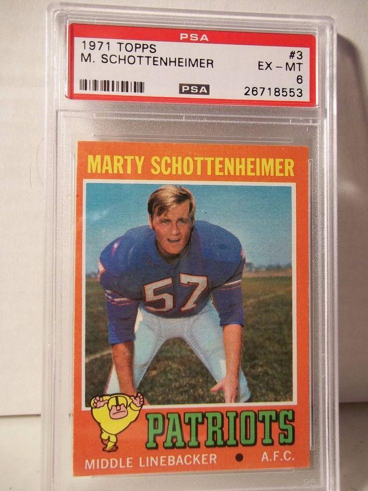 1971 Topps Marty Schottenheimer Rookie PSA EX-MT 6 Football Card #3 NFL  #NewEnglandPatriots