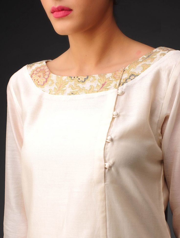 Buy Cream Golden Multi Color Chanderi Brocade Kurta Online at Jaypore.com