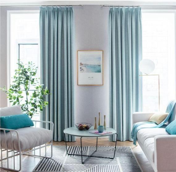 Custom Curtains Living Room, Light Blue Curtains Living Room