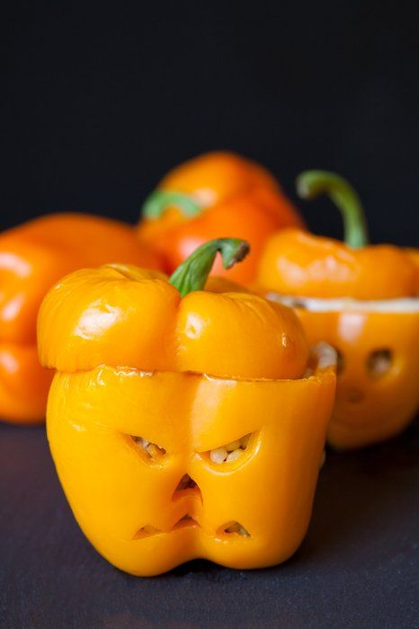 Halloween Stuffed Pepper Pumpkins with whole grains and vitamin-rich peppers, this tasty dish is scarily good for you