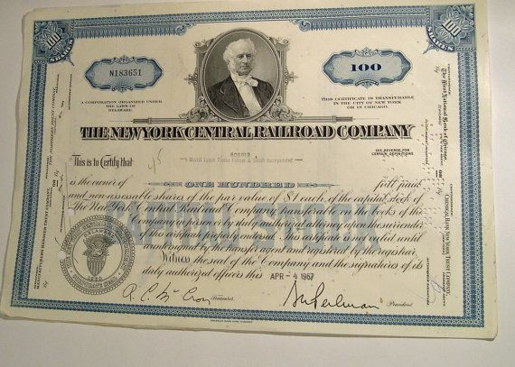 100 Shares Certificated by Merrill Lynch Pierce Fehner & Smith Incorporated with the Corporate Seal of The New York Central Railroad Company - a Corporation organized under the laws of Delaware. Attached is a transfer Agents copy.  The 2nd to 5th photo represent the Capital Stock Certificate for Pennsylvania New York Central Transportation Company for 17 shares,with attached 2 transfer documents.  Condition: folds from previous handling, see photos.  People like to frame the ones they lik...