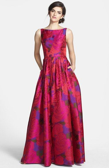 Adrianna Papell Floral Print Jacquard Ballgown in magenta | Nordstrom -- $258.00 // too darling! now to find the occasion to go with it . . .