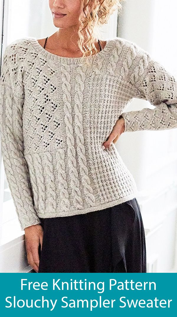Free Knitting Pattern for Slouchy Sampler Sweater