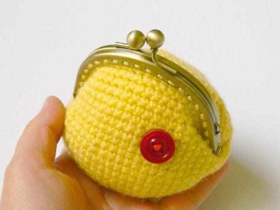 Yellow crochet coin purse bronze metal frame coin by craftysou