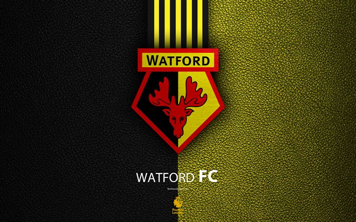Download wallpapers Watford FC, 4K, English football club, leather texture, Premier League, logo, emblem, Watford, England, UK, football