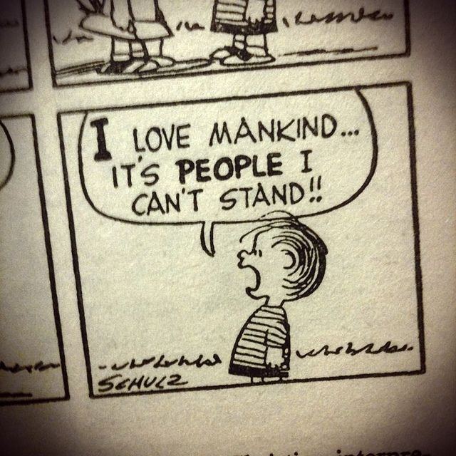 """I love mankind...it's *people* I can't stand."" -Linus Van Pelt. Photo by Austin Kleon, via Flickr"