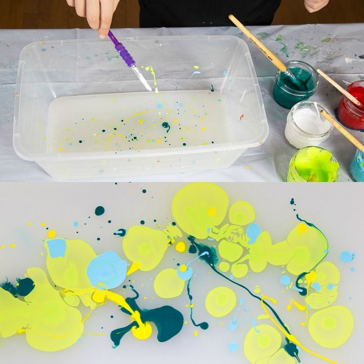 Paper Marbling With Acrylic Paint And Liquid Starch With Images Marble Paper Acrylic Painting