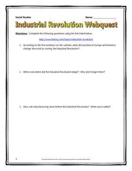 Industrial Revolution Webquest With Key Industrial Revolution