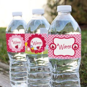 Little Ladybug Water Bottle Labels  Set of 3 by SunshineParties on #Etsy....lovely! #LadybirdWaterBottleLabels #LadybugWaterBottleLabels